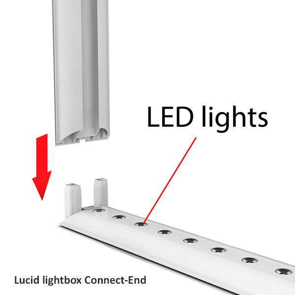 Lucid lightbox textile connect-side connection LED caisson lumineux tissu