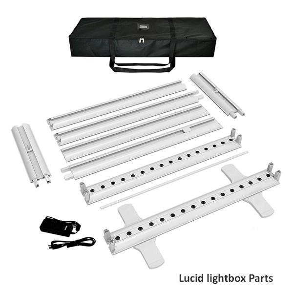 Lucid lightbox textile parts caisson lumineux tissu