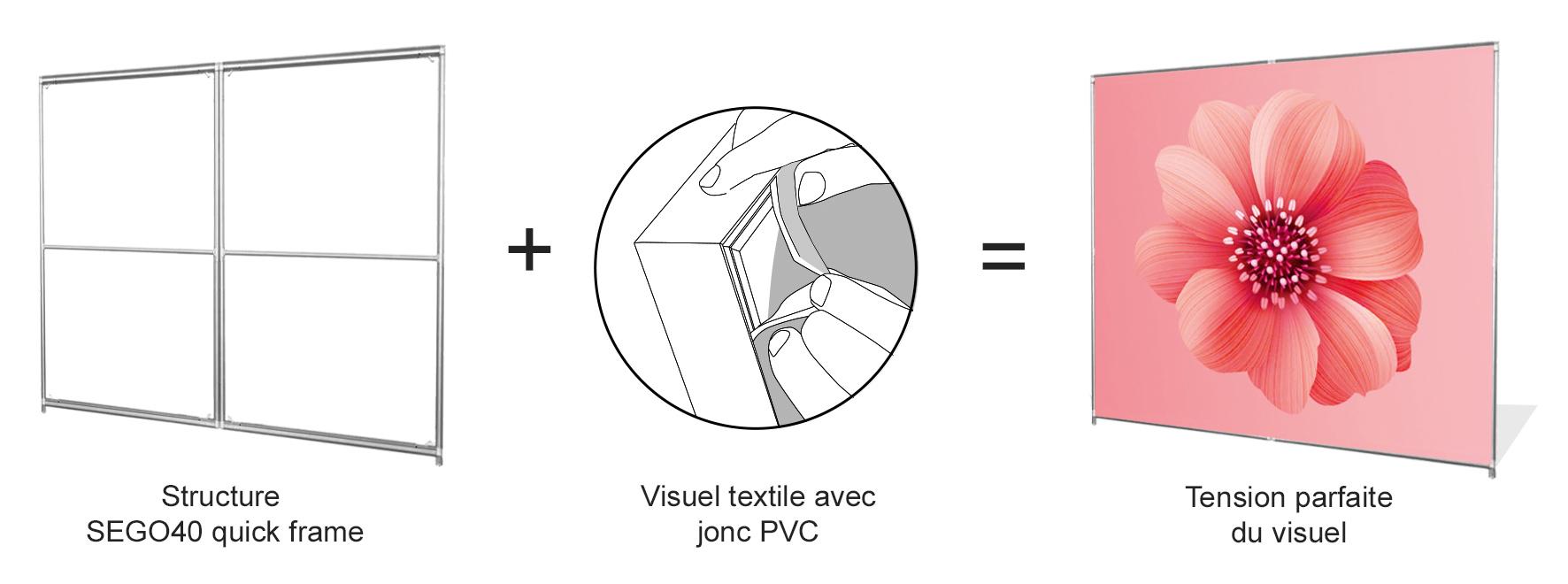 Quick Frame SEGO 40 cadre textile autoportant